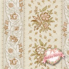 """English Diary 7248-L By Renee Nanneman For Andover: English Diary is a collection by Renee Nanneman for Andover. This fabric features a green and tan floral stripe on a cream background. Width: 43""""/44""""Material: 100% CottonSwatch Size: 6"""" x 6"""""""