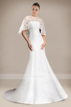 Refreshing Trumpet Bridal Gown with Extra Laced Shawl