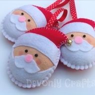 These cute Father Christmas decorations are designed and hand stitched by Devonly Crafts in the beautiful county of Devon, England. Santa is made with felt and is completely hand stitched. He is lightly stuffed with polyester filling and finished with ...