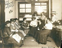 Board meeting at the first headquarters of the Equal Suffrage League  of St. Louis. Photograph, 1912. Missouri History Museum Photographs  and Prints Collections. Women's Suffrage. N22382.