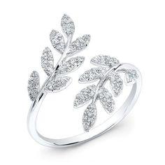 Buy white gold diamond branch ring online – Anne Sisteron