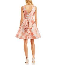 Nicole Miller New York V-Neck Sleeveless Jacquard Bustle-Back Party Dress