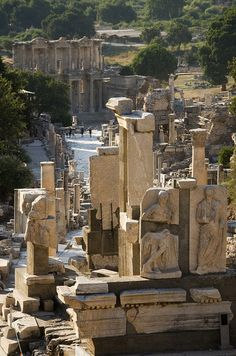 Ephesus main roadway, with Celsus library facade and well preserved statuary
