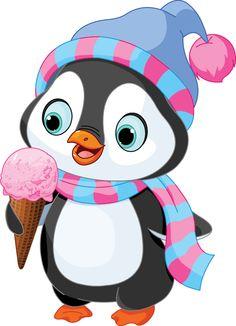 Cute penguin with hat and scarf eats an ice cream. Cartoon Cartoon, Christmas Clipart, Christmas Art, Baby Animals, Cute Animals, Art Mignon, Penguin Art, Cute Clipart, Cute Penguins
