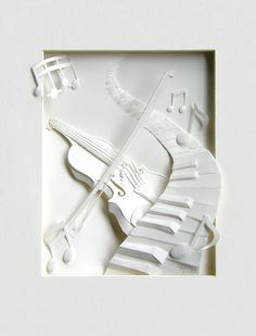 Cheong-ah Hwang's Paper Art Sculptures violin