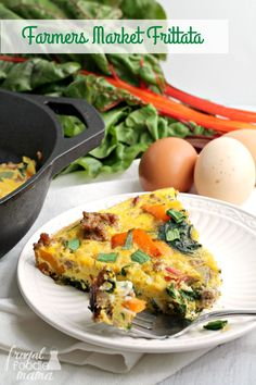 This hearty Farmers Market Frittata is brimming with locally raised pork sausage, bell pepper, & fresh rainbow chard.