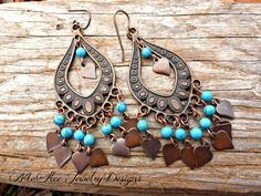 Copper and blue turquoise stone earrings. McKee Jewelry Designs