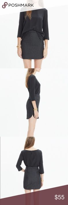 """Madewell Shirttail Skirt In Nightfall Jacquard Perfect condition. It's considered a mini skirt but I'm 5'5"""" and it's came to right above my knees. Textured black skirt with gold threading. Size 6. Madewell Skirts Midi"""