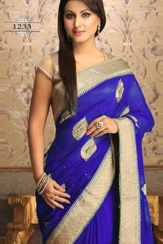 Blue Georgette Latest Designer Saree