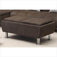 Casual Microfiber Ottoman with Serving Trays in Brown - 300278 - Lowest price online on all Casual Microfiber Ottoman with Serving Trays in Brown - 300278