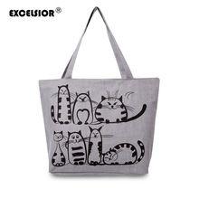 Excelsior 2017 gatos de la historieta impresa bolsa de plástico playa bolsa feminina femme de marca lienzo bolso de compras bolsos sac a principal(China (Mainland))