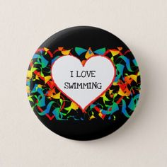 I Love Swimming Sports Editable Modern Abstract Button - heart gifts love hearts special diy