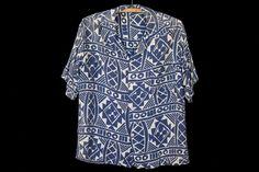 1930s Blue Tapa Vintage Aloha Shirt
