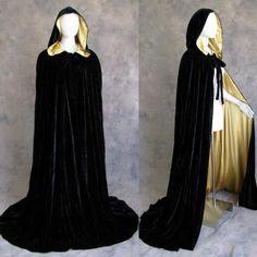 Lined Black Gold Velvet Cloak