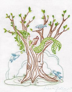 Mermaid Tree Embroidery Pattern via Etsy.