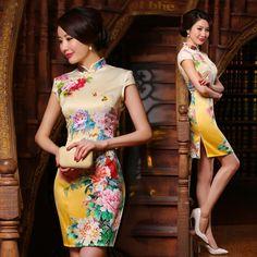 http://modernqipao.com/wp-content/uploads/2015/04/20/Chinese-watercolor-peony-floral-painting-yellow-silk-cheongsam-short-Chinese-dress-ZAYS-332-85-001.jpg