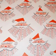 Vintage Christmas Wrapping Paper Gift Wrap Mid Century Atomic Age Santa.