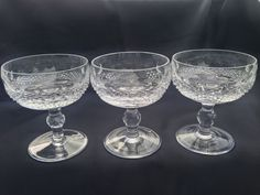 Set of 3 Waterford Crystal Signed Colleen Champagne Coupe Glasses