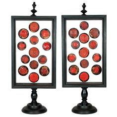 Pair of Ebonized Framed Red Wax Seals Collection, 19th Cent.
