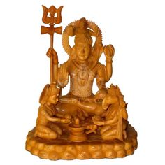 WOODEN HAND CARVED STATUE OF LORD SHIVA AND GANESHA