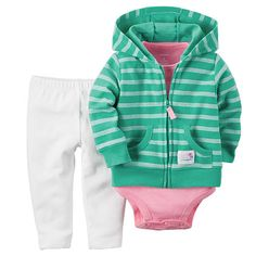 3-piece set. Zip-front design. Nickel-free snaps on reinforced panel. Expandable shoulders. No-pinch elastic waistband. Ribbed cuffs.  100%  Cotton. <br><br>Carter's is the leading brand of children's clothing, gifts and accessories in the United States today, selling more than 10 products for every child born in U.S. Trusted by generations of families for making life easier, Carter's creates a full range of innovative, quality baby and children's products that have provided solutions for…