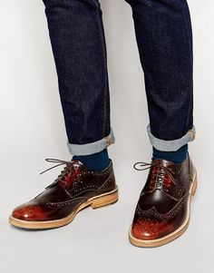 Shop ASOS Brogue Shoes in Leather at ASOS. Brown Brogues, Leather Brogues, Tan Leather, Asos Shoes, Men's Shoes, Dress Shoes, Wingtip Shoes, Doc Martens Oxfords, Me Too Shoes