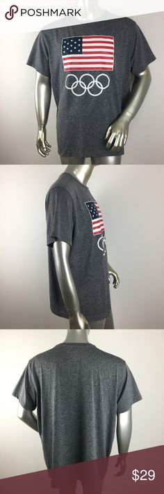 """USA Team Olympic Rio de Janeiro 2016 Gray Tee XL CONDITION: New without tags, light cracked flag logo.  MATERIAL: 100% Polyester (Please note that the measurements are approximate) ALL MEASUREMENTS ARE TAKEN WITH GARMENT LYING FLAT: SLEEVE: 8.5"""" CHEST: 27"""" WAIST: 26.5"""" LENGHT: 29"""" Team Apparel Shirts Tees - Short Sleeve"""