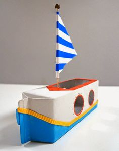 story of a 'putt putt boat' Make a sailboat from a milk carton with this kids craft made from recycled materials!Make a sailboat from a milk carton with this kids craft made from recycled materials! Projects For Kids, Diy For Kids, Craft Projects, Boat Crafts, Summer Crafts, Milk Carton Crafts, Crafts To Make, Crafts For Kids, Simple Boat