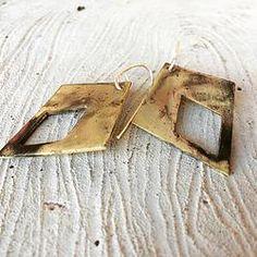 Brass Oxidized Diamond Shape Earrings