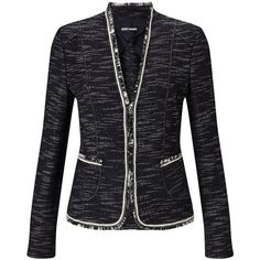 Gerry Weber Edge To Edge Textured Jacket, Indigo (1 610 SEK) ❤ liked on Polyvore featuring outerwear, jackets, short jacket, gerry weber, long sleeve jacket, textured jacket and indigo jacket