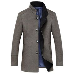 Tanming Mens Notch Lapel Slim Single Breasted Suit Jacket Trench Coat Overcoat