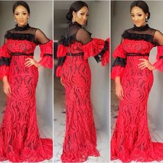 Ladies Zone: Style Slayers Get in Here! Checkout These Trendy EbFabLook Aso-Ebi Styles African Lace Dresses, African Fashion Dresses, Ankara Fashion, African Blouses, Ghanaian Fashion, African Outfits, African Wear, African Attire, African Style