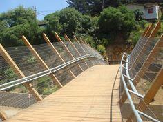 Pedestrian Bridge in Zapallar, Chile;  designed by Enrique Browne y Asociados Arquitectos (2008);  photo by Enrique Browne