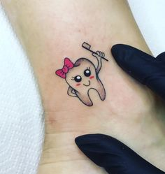 Hip Thigh Tattoos, Stomach Tattoos, Side Tattoos, New Tattoos, Tiny Tattoos For Girls, Small Tattoos, Tooth Tattoo, Cute Tooth, Tattoo For Son