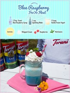 Welcome to the Torani Vintage Modern Soda Stand! What can we make for you today? How about a Blue Raspberry Fro Yo Float?  For this treat, all you need is Torani Blue Raspberry + Frozen Yogurt (we used vanilla) + Whipped Cream & viola! a nice twist on a traditional treat... enjoy!