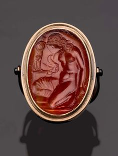 Oval gem with Kassandra kneeling at Palladion | Museum of Fine Arts, Boston