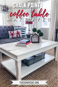 Learn how to rescue a coffee table headed for the trash into a modern Farmhouse treasure with this tutorial. This amazing makeover using Chalk Paint would make Joanna Gaines smile! Not only is this a cheap DIY but it is super easy too! Coffee Table Refinish, Coffee Table Makeover, Painted Coffee Tables, Diy Coffee Table, Coffee Table Design, Diy Table, Country Coffee Table, Refinished Table, Shabby Chic Patio