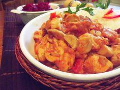 Tigaie picantă cu hribi şi piept de pui ~ Bucate, vorbe şi arome I Foods, Shrimp, Meat