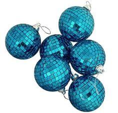 "Amazon.com: 6 Regal Peacock Blue Mirrored Glass Disco Ball Christmas Ornaments 1.5"" (40mm): Home & Kitchen"