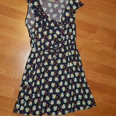 Floral Dress Easter Or Sundres. Navy With Flowers