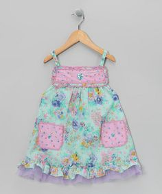 Take a look at this Mint & Pink Rhinestone Scallop Dress - Toddler & Girls by Ma Petite Amie on #zulily today!