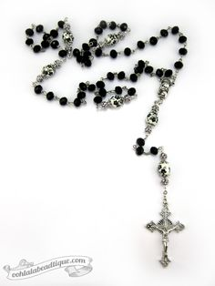 Black Crystal Rosary $36 #rosary #rosaries #gift #confirmation #prayer #devotional #gifts #black #catholic #christian #Jesus #Christ #crucifix #pope #decade