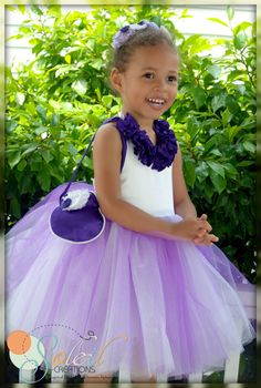 The Milana ~ Lapis Purple and White Flower Girl Dress by SoleilCreations.com