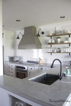 DIY Concrete Countertops – Pour in Place - Pour in Place Concrete Countertops – The Inspired Workshop - Diy Interior, Kitchen Interior, White Concrete Countertops, Diy Countertops, White Granite, Kitchen Redo, Kitchen Design, Kitchen Makeovers, Kitchen Cabinets