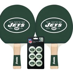 New York Jets NFL Table Tennis Paddles and Balls Set (2 Paddles and 6 Balls )