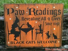 Paw Readings Black Cats Welcome Cats OOAK by MoonlightPrimitives, $35.00