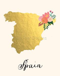 Spain Map Spain Art Spain Poster Spain Print Spain Printable Spain Postcard…
