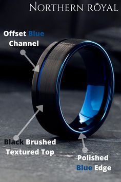 This unique mens wedding ring features a offset blue channel with a black brushed textured finish. He wants a modern wedding ring and I just fond the one for him. He wanted a all black wedding ring but probably did not even know they made blue and black rings. He would loves. The perfect mens wedding ring! #mensweddingrings #mensweddingbands