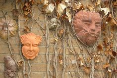 Guardians    Green Men etc. guarding my front door.