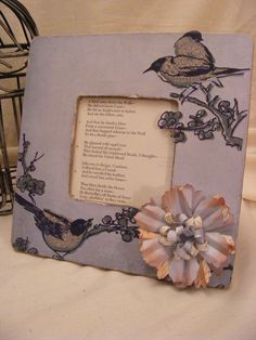 Decoupage Wooden Picture Frame, Bluebirds in Spring. $16.00, via Etsy.